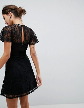 photo Mini Lace Skater Dress with Eyelets by ASOS, color Black - Image 2