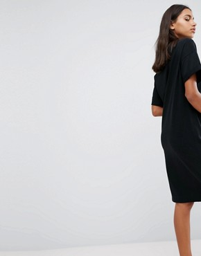 photo Midi T-Shirt Dress with Rolled Sleeves by ASOS ULTIMATE, color Black - Image 2