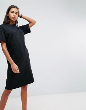 photo Midi T-Shirt Dress with Rolled Sleeves by ASOS ULTIMATE, color Black - Image 1