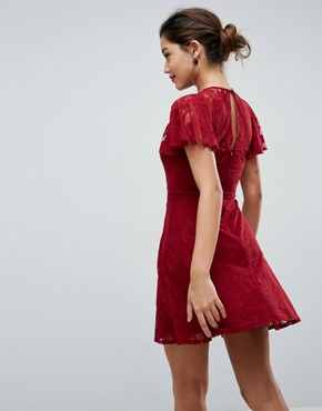photo Mini Lace Skater Dress with Eyelets by ASOS, color Wine - Image 2