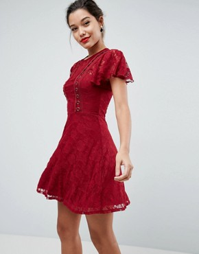 photo Mini Lace Skater Dress with Eyelets by ASOS, color Wine - Image 1