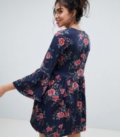photo Smock Dress with V-Neck and Trumpet Sleeve in Rose Print by ASOS, color Rose Print - Image 2