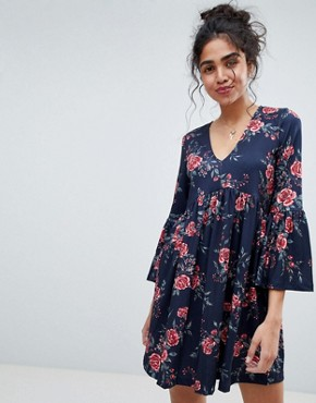 photo Smock Dress with V-Neck and Trumpet Sleeve in Rose Print by ASOS, color Rose Print - Image 1