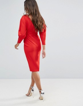 photo Long Sleeve Midi Pencil Dress by ASOS, color Red - Image 2