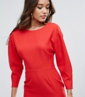 photo Long Sleeve Midi Pencil Dress by ASOS, color Red - Image 3
