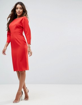photo Long Sleeve Midi Pencil Dress by ASOS, color Red - Image 4