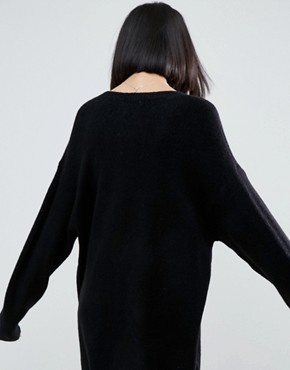 photo Knitted Dress with Crew Neck in Fluffy Yarn by ASOS, color Black - Image 2