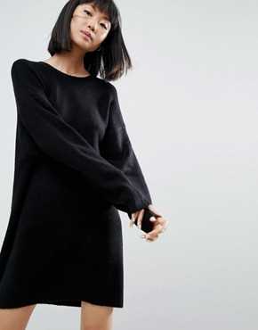 photo Knitted Dress with Crew Neck in Fluffy Yarn by ASOS, color Black - Image 1
