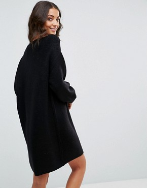 photo Knitted Dress with Crew Neck in Fluffy Yarn by ASOS TALL, color Black - Image 2