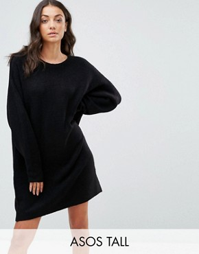 photo Knitted Dress with Crew Neck in Fluffy Yarn by ASOS TALL, color Black - Image 1