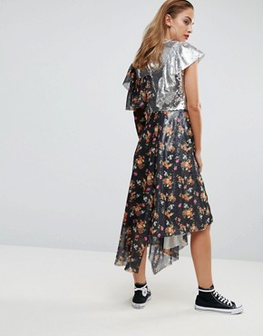 photo Sequin Mix Ditsy Raw Edge Print Midi Tea Dress by ASOS, color Multi - Image 2