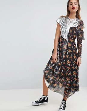 photo Sequin Mix Ditsy Raw Edge Print Midi Tea Dress by ASOS, color Multi - Image 1