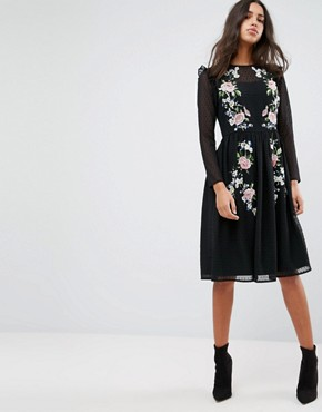 photo Pretty Embroidered Midi Dress on Dobby by ASOS PREMIUM, color Black - Image 1