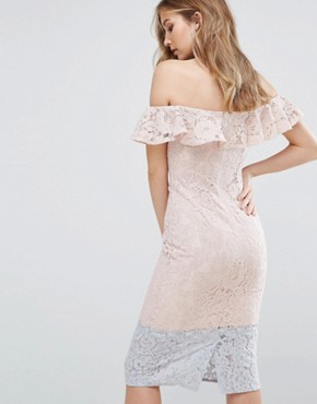 photo Colour Block Lace Dress with Frill Overlay by Little Mistress, color Pink - Image 2