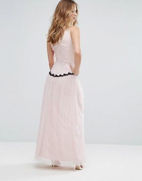 photo Embroidered Maxi Dress with Tulle Skirt by Little Mistress, color Beige - Image 2