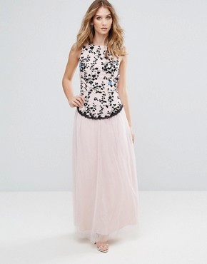 photo Embroidered Maxi Dress with Tulle Skirt by Little Mistress, color Beige - Image 1
