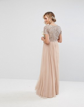 photo V-Neck Maxi Tulle Dress with Tonal Delicate Sequins by Maya Maternity, color Taupe Blush - Image 2