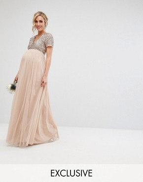 photo V-Neck Maxi Tulle Dress with Tonal Delicate Sequins by Maya Maternity, color Taupe Blush - Image 1