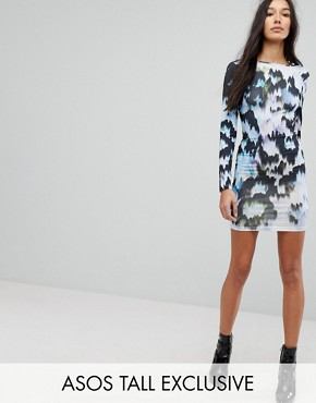 photo Mini Bodycon Dress in Marble Print by ASOS TALL, color Multi - Image 1