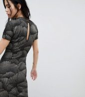 photo Metallic Pattern Bodycon Dress by Soaked in Luxury, color Black With Glitter - Image 2