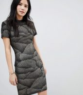 photo Metallic Pattern Bodycon Dress by Soaked in Luxury, color Black With Glitter - Image 1