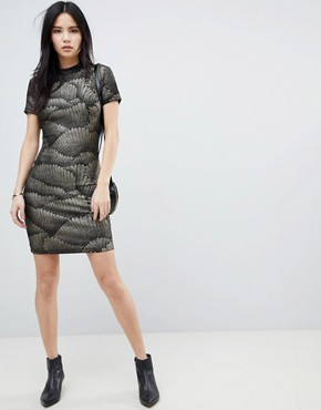 photo Metallic Pattern Bodycon Dress by Soaked in Luxury, color Black With Glitter - Image 4
