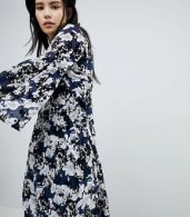 photo Floral Flock Swing Dress by Soaked in Luxury, color Blue - Image 3