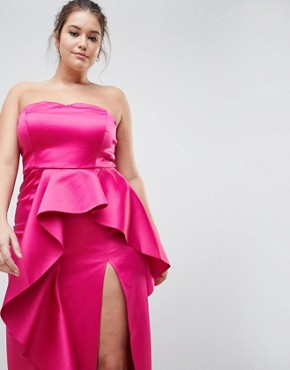 photo Plus Bandeau Maxi Dress with Ruffle Detail by TTYA BLACK, color Fuchsia - Image 3