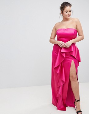 photo Plus Bandeau Maxi Dress with Ruffle Detail by TTYA BLACK, color Fuchsia - Image 4