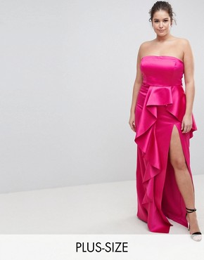 photo Plus Bandeau Maxi Dress with Ruffle Detail by TTYA BLACK, color Fuchsia - Image 1