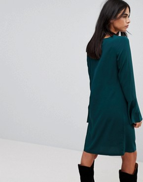 photo Fluted Sleeve Dress by Vila, color Pine Grove - Image 2