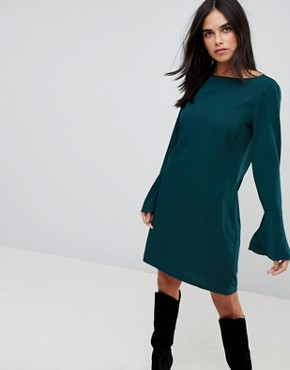 photo Fluted Sleeve Dress by Vila, color Pine Grove - Image 1