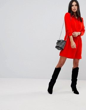 photo Drop Waist Shirt Dress by Vila, color Red - Image 4