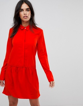 photo Drop Waist Shirt Dress by Vila, color Red - Image 1