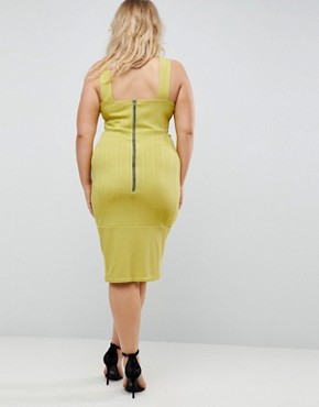 photo Bandage Cut Out Bodycon Midi Dress by ASOS CURVE, color Chartreuse - Image 2