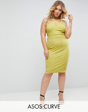 photo Bandage Cut Out Bodycon Midi Dress by ASOS CURVE, color Chartreuse - Image 1