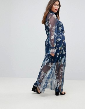 photo Printed Mesh Maxi Dress with Shirred Neck by ASOS CURVE, color Print - Image 2