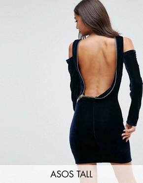 photo Velvet Open Zip Back Bodycon Mini Dress by ASOS TALL, color Navy - Image 1