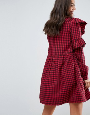 photo Gingham Smock Dress with Ruffles by ASOS TALL ULTIMATE, color Multi - Image 2