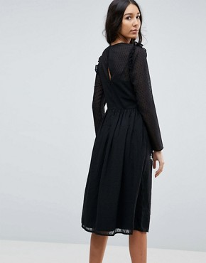 photo Pretty Embroidered Midi Dress on Dobby by ASOS TALL PREMIUM, color Black - Image 2