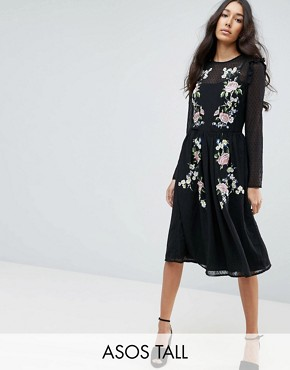 photo Pretty Embroidered Midi Dress on Dobby by ASOS TALL PREMIUM, color Black - Image 1