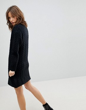 photo Oversized Knitted Dress with Cable Detail by ASOS, color Black - Image 2