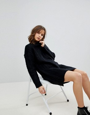 photo Oversized Knitted Dress with Cable Detail by ASOS, color Black - Image 1