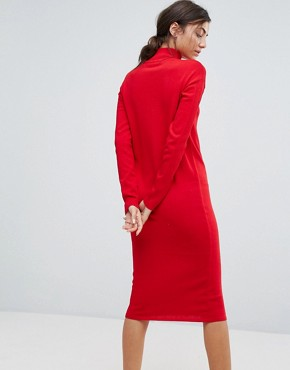 photo Knitted Dress with Zip Up Neck by ASOS TALL, color Red - Image 2