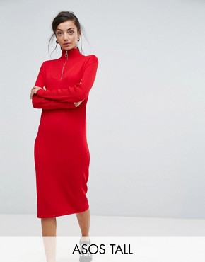photo Knitted Dress with Zip Up Neck by ASOS TALL, color Red - Image 1