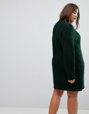 photo Oversized Knitted Dress with Cable Detail by ASOS CURVE, color Dark Green - Image 2