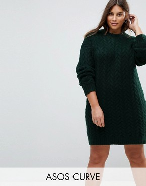 photo Oversized Knitted Dress with Cable Detail by ASOS CURVE, color Dark Green - Image 1