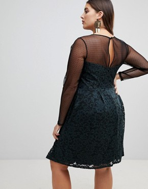 photo Lace & Dobby Mini Skater Dress by ASOS CURVE, color Black/Green - Image 2