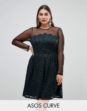 photo Lace & Dobby Mini Skater Dress by ASOS CURVE, color Black/Green - Image 1