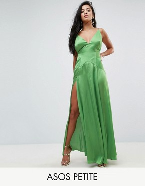 photo Cami Thigh Split Maxi Dress by ASOS PETITE ULTIMATE, color Green - Image 1